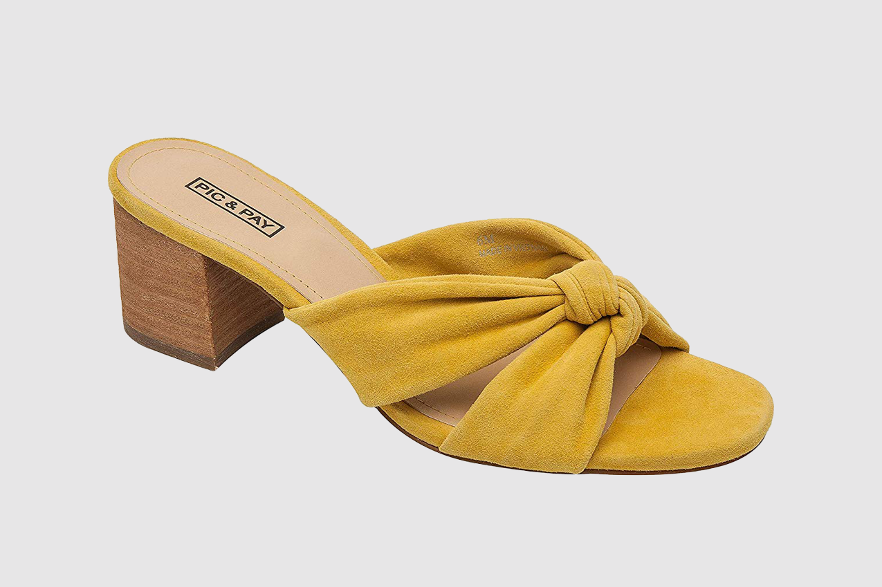 Pic & Pay | Roxie | Slip On Knotted Suede Upper Mid Height Block Heel Slide (New Spring)