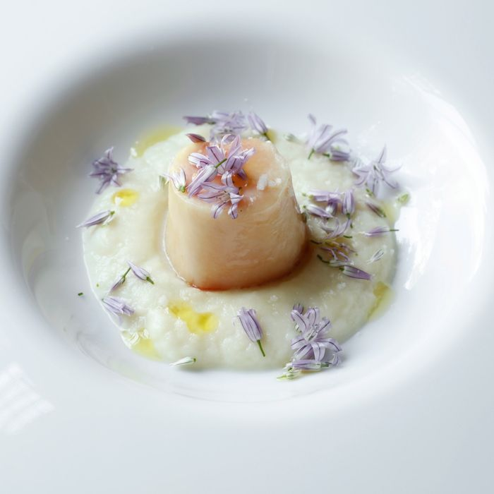 Poached marrowbone with spring onion and chive flowers.