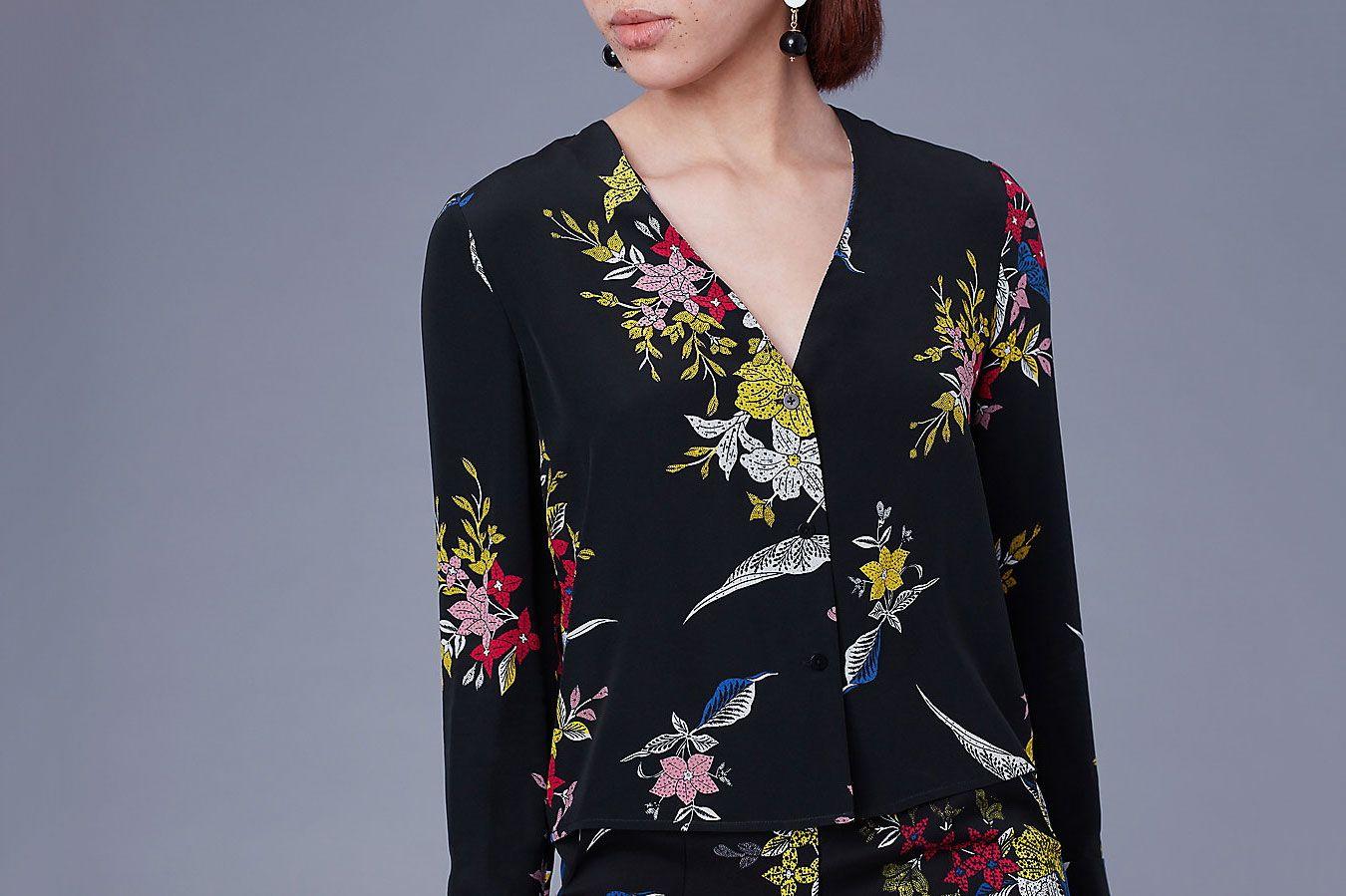 Diane von Furstenberg Cuffed V-Neck Shirt