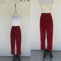 Cucarachaz 90s New Old Stock LL Bean Burgundy Pleated Wale Corduroy Trousers