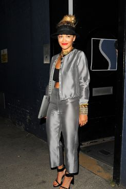 Singer Rita Ora pictured leaving a studio in West London in the early hours. Rita was wearing a mix of Armani and topshop this morning.