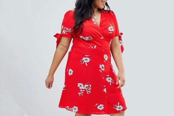 Glamorous Curve floral button through tea dress