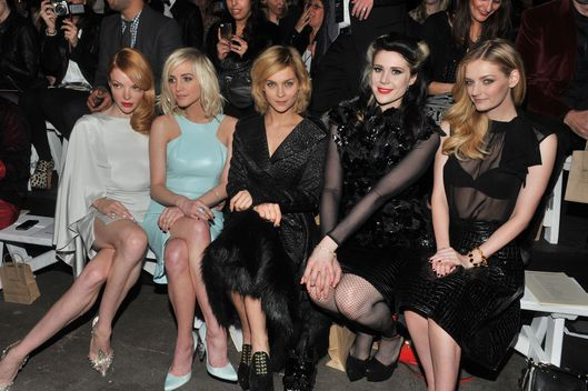 Nicole LaLiberte, Ashlee Simpson, Leigh Lezark, Kate Nash and Lydia Hearst attend Christian Siriano during Fall 2013 Mercedes-Benz Fashion Week at Eyebeam on February 9, 2013 in New York City.