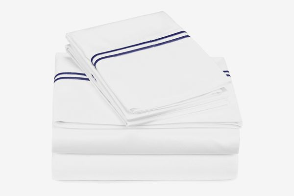 Pinzon 400-Thread-Count Egyptian Cotton Sateen Hotel Stitch Sheet Set - King, Navy