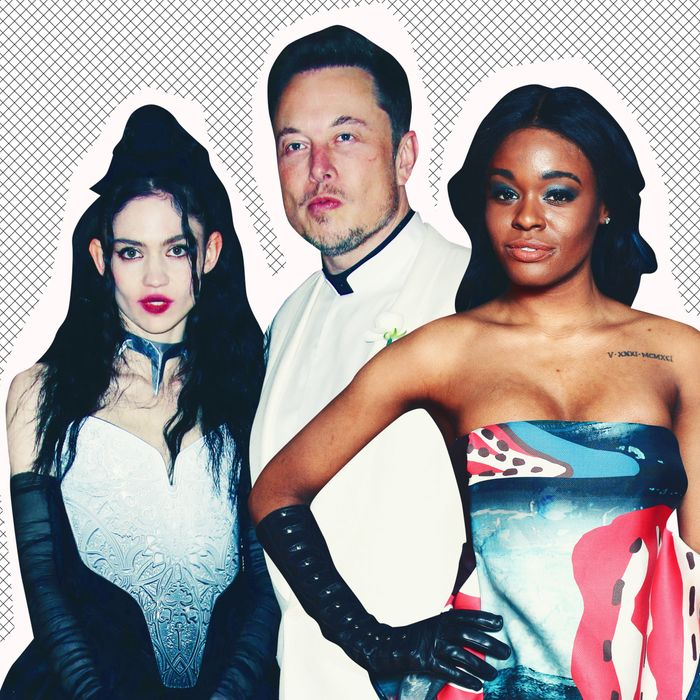 Grimes, Elon Musk, and Azealia Banks,.
