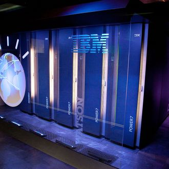 A general view of IBM's 'Watson' computing system at a press conference to discuss the upcoming Man V. Machine