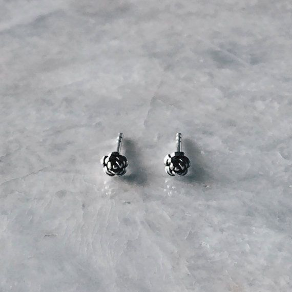 SilverCartel Tiny Rose Stud Earrings