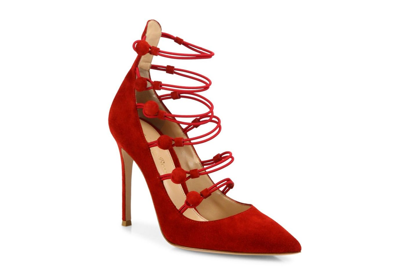 Gianvito Rossi Suede Button-Strap Point Toe Pump