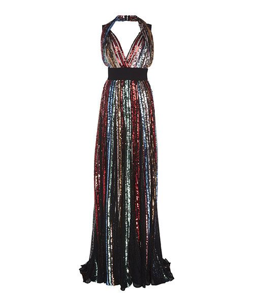 Elie Saab Embroidered Halter Gown