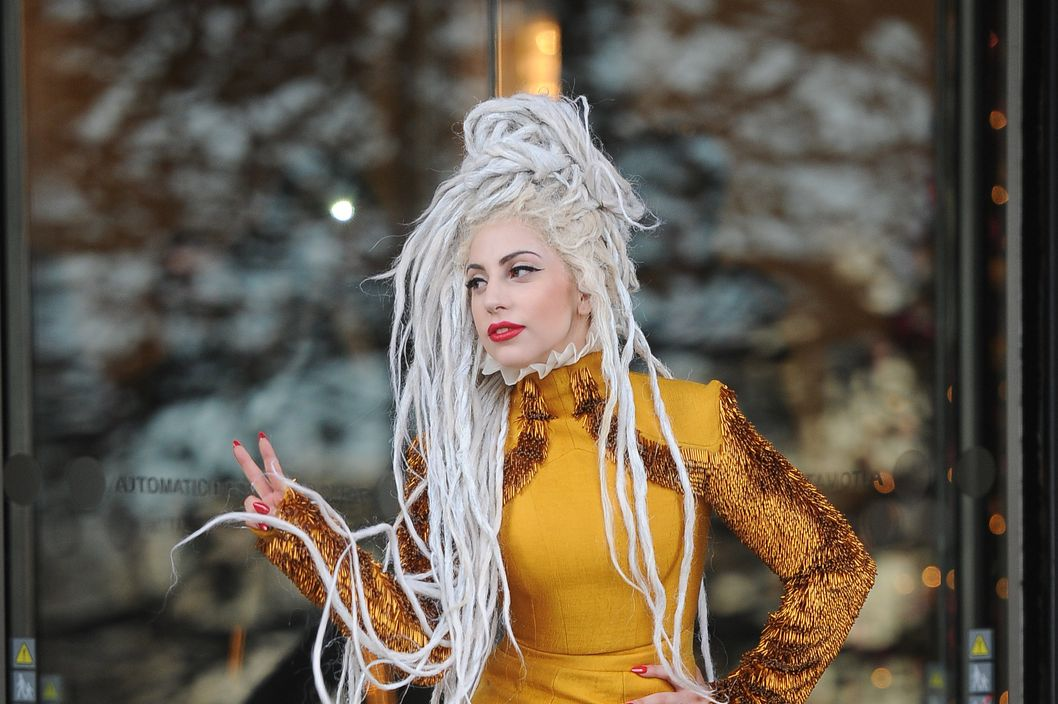 LONDON, UNITED KINGDOM - DECEMBER 09: Lady GaGa Seen at the langham hotel  on December 9, 2013 in London, England. (Photo by Alex Moss/FilmMagic)