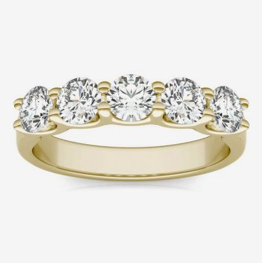 Charles & Colvard 1.15 CTW Round Moissanite Five Stone Band in 14K Yellow Gold