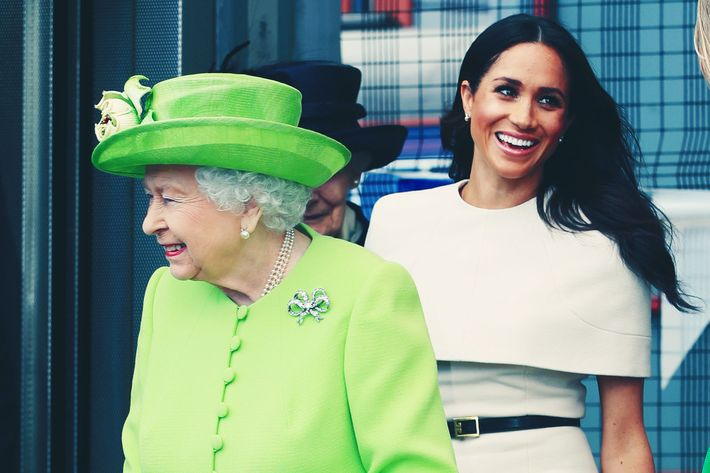 Queen Elizabeth and Meghan Markle.