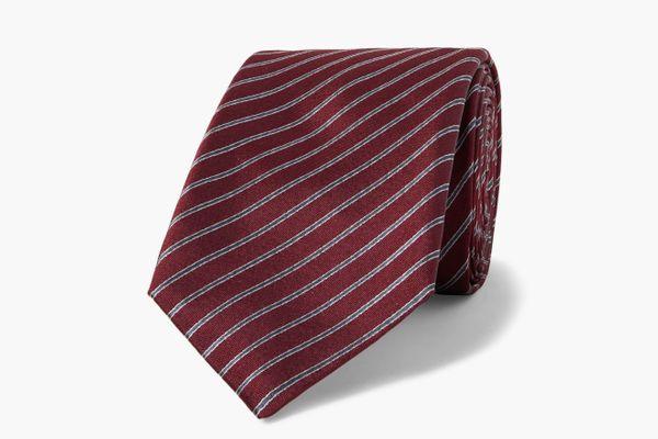 Giorgio Armani Striped Silk-Jacquard Tie