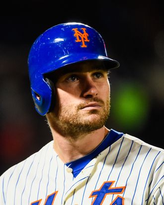 NEW YORK, NY - SEPTEMBER 17: Daniel Murphy #28 of the New York Mets looks on during a game against the Miami Marlins at Citi Field on September 17, 2014 in the Flushing neighborhood of the Queens borough of New York City. (Photo by Alex Goodlett/Getty Images)