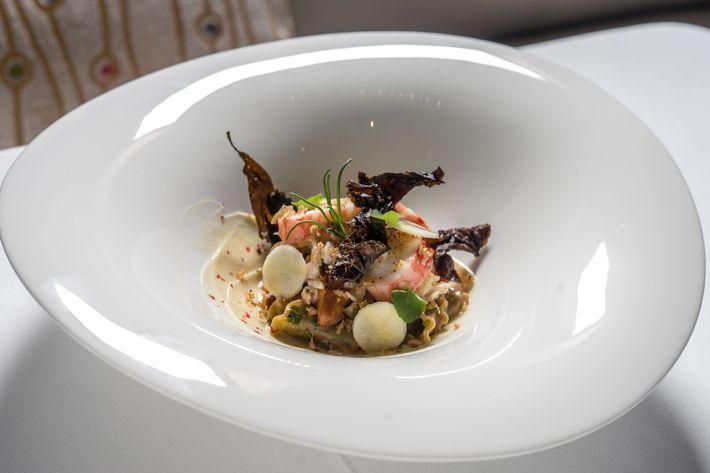 Nori pasta with Alaskan king crab and smoked-parsnip purée.