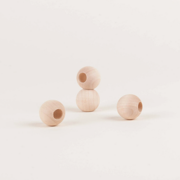 Natural 3/4-Inch Wooden Beads with 3/8-Inch Hole