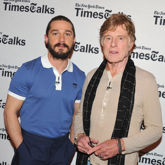 NEW YORK, NY - APRIL 02: Shia LaBeouf and Robert Redford attend TimesTalks Presents: