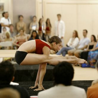 Ashley hooper, of Los Angeles, competes in the semifinal round of the 2003 International Yoga Championship