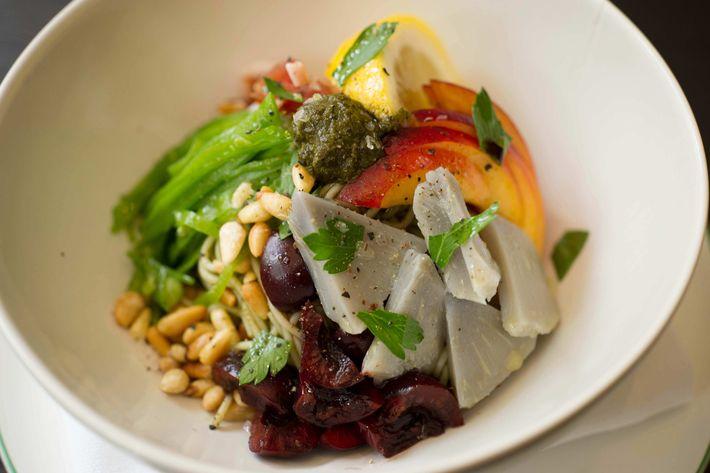Cold angel-hair-pasta salad, snap pea, cherries, artichoke, prosciutto, pine nuts, green-tea pesto.