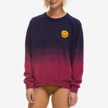 Aviator Nation Faded Smiley Embroidery Sweatshirt