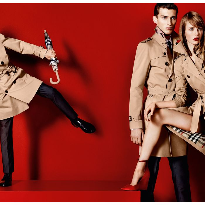 Romeo Beckham, Charlie France, and Edie Campbell for Burberry.