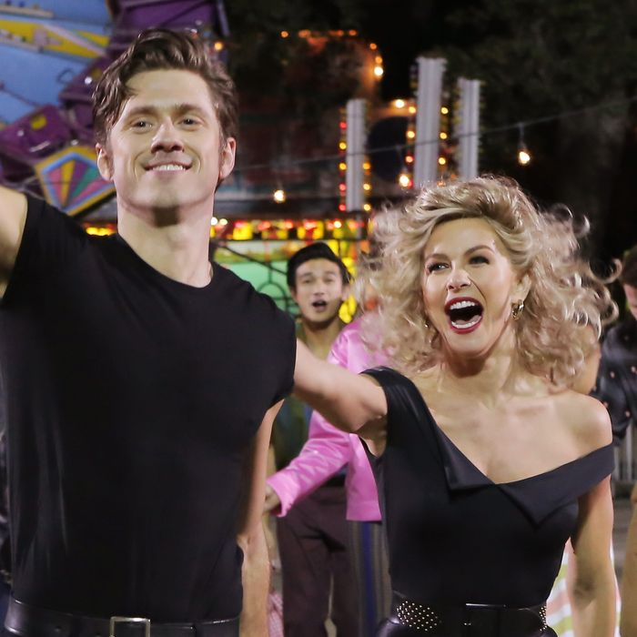 GREASE: LIVE: (L-R) Aaron Tveit and Julianne Hough rehearse for GREASE: LIVE airing LIVE Sunday, Jan. 31, 2016 (7:00-10:00 PM ET live/PT tape-delayed), on FOX. © 2016 Fox Broadcasting CO. Cr: Kevin Estrada/FOX