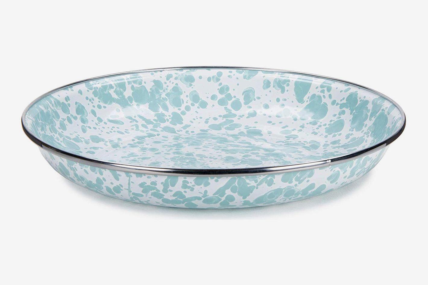 Golden Rabbit Enamelware - Sea Glass Swirl Pattern - 10 Inch Pasta Plate