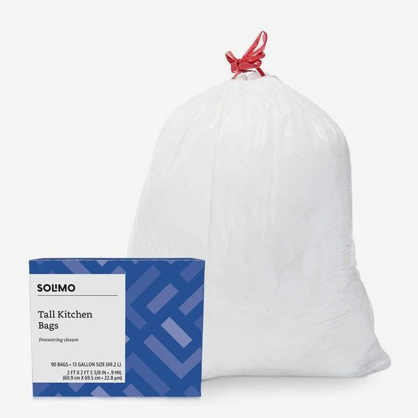 Solimo Tall Kitchen Drawstring Trash Bags, 13 Gallon, 90 Count