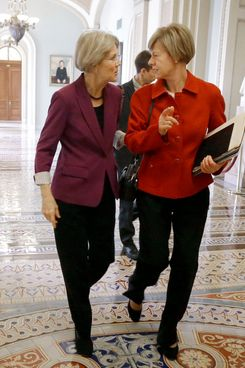 13 Nov 2012, Washington, DC, USA --- Sen-elect Elizabeth Warren, D-Mass., left, and Sen-elect, current Rep. Tammy Baldwin, D-Wis. walk together to freshman Senators luncheon on Capitol Hill in Washington, Tuesday, Nov. 13, 2012. (AP Photo/Pablo Martinez Monsivais) --- Image by ? Pablo Martinez Monsivais/ /AP/Corbis