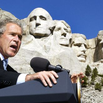 US President George W. Bush addresss a crowd at Mount Rushmore National Memorial in South Dakota, 15 August 2002. The president spoke about the budget and national security. AFP PHOTO/PAUL J. RICHARDS (Photo credit should read PAUL J. RICHARDS/AFP/Getty Images)