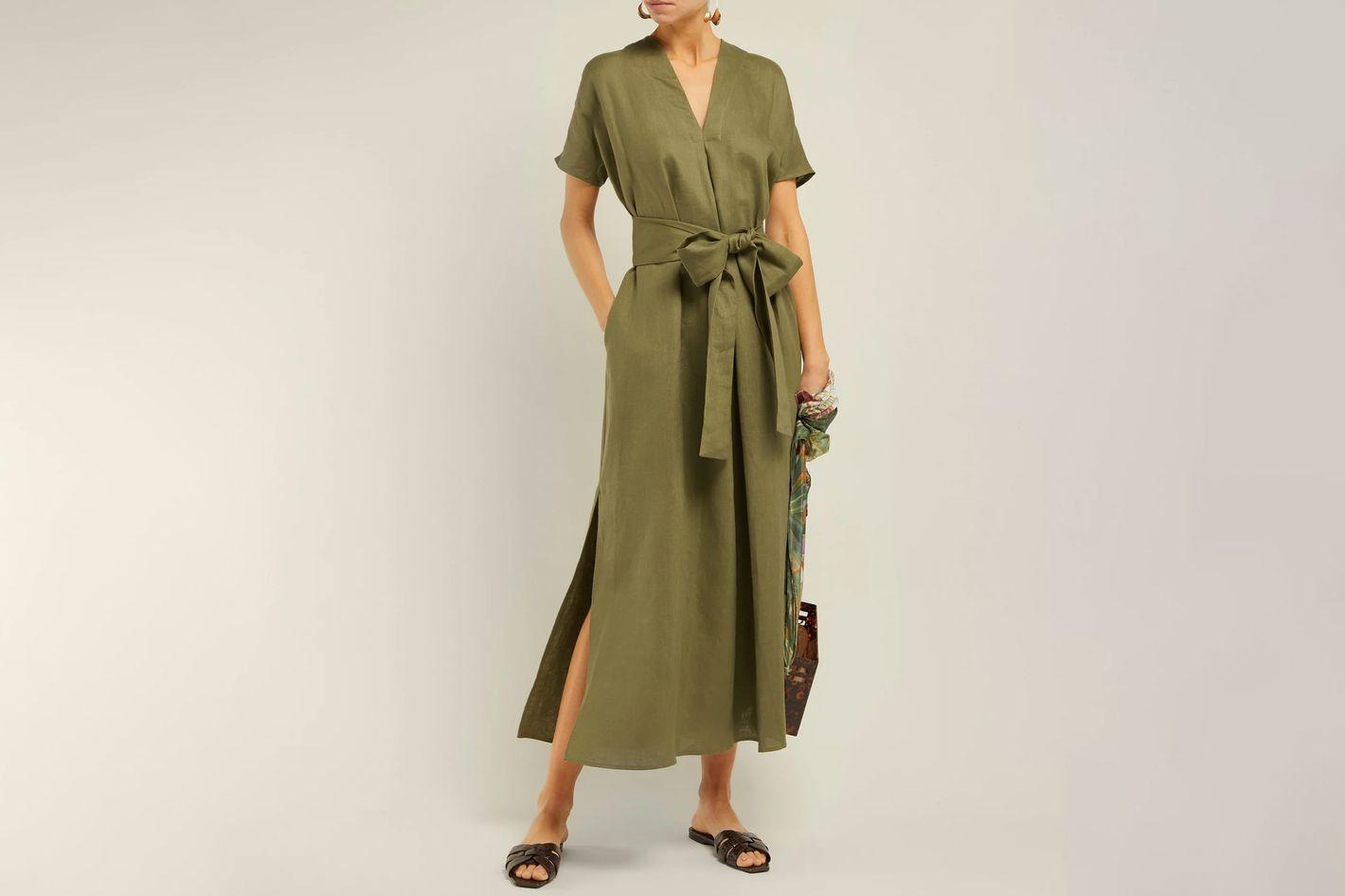Lisa Marie Fernandez Rosetta V-Neck Linen Midi Dress
