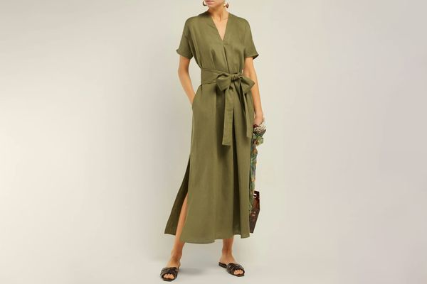 Lisa Marie Fernandez Rosetta V-Neck Linen Midi Dress