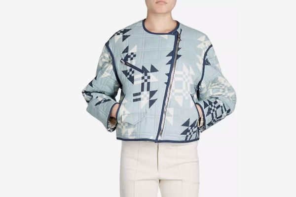 Isabel Marant Lazel Zip-Front Origami-Printed Quilted Jacket