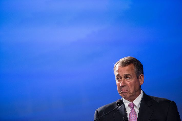 "WASHINGTON, DC - MAY 15: House Speaker John Boehner (R-OH) speaks at the 2012 Fiscal Summit on May 15, 2012 in Washington, DC. The third annual summit, held by the Peter G. Peterson Foundation, explored the theme ""America's Case for Action."" (Photo by Brendan Hoffman/Getty Images)"