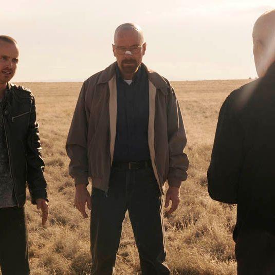 Jesse Pinkman (Aaron Paul) and Walter White (Bryan Cranston) and Mike (Jonathan Banks) - Breaking Bad - Season 5, Episode 1.