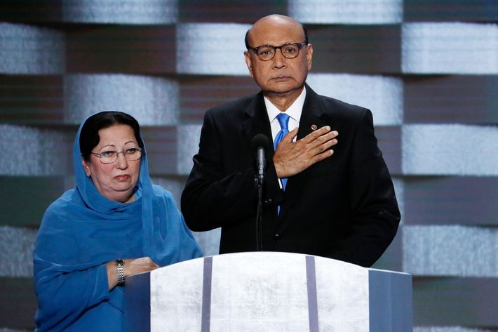 Ghazala Khan and her husband at the Democratic National Convention.