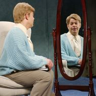 """SATURDAY NIGHT LIVE -- Episode 8 -- Aired 12/14/2002 -- Pictured: Al Franken as Stuart Smalley during """"Daily Affirmation"""" skit on December 14, 2002."""