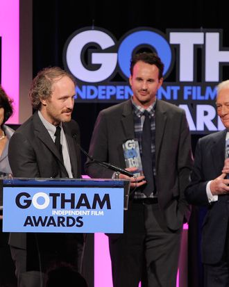 NEW YORK, NY - NOVEMBER 28: Director Mike Mills speaks onstage as Mary Page Keller, Kai Lennox and Christopher Plummer look on at the IFP's 21st Annual Gotham Independent Film Awards at Cipriani Wall Street on November 28, 2011 in New York City. (Photo by Jemal Countess/WireImage for IFP)