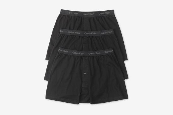 Calvin Klein Cotton Classics 3-Pack Knit Boxer in Black