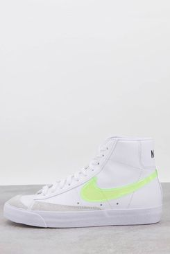 Nike Blazer Mid '77 Essential Trainers in White and Fluro Green