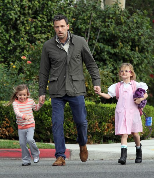 Ben Affleck spends time with his daughters Seraphina and Violet in Brentwood, California.