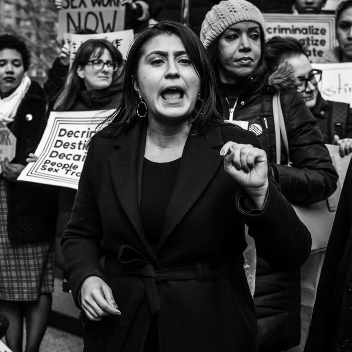 New York state senator Jessica Ramos at the Decrim NY rally in Foley Square on February 25.