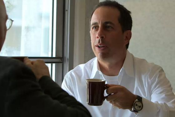 Seinfeld enjoying a cup on his new series, which wil