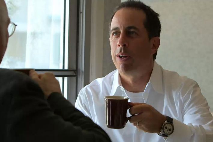 Seinfeld enjoying a cup on his new series, which will return for a second season.