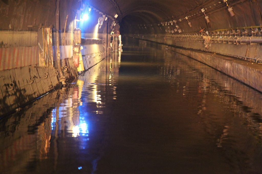 November 2: Water from Hurricane Sandy sits in the Cranberry Street Tunnel, which carries the A and C trains between Manhattan and Brooklyn.