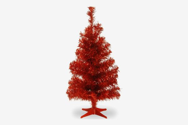 National Tree 3-Foot Red Tinsel Tree with Plastic Stand