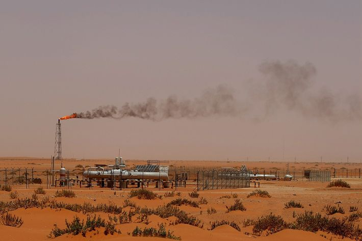 "A flame from a Saudi Aramco oil installion known as ""Pump 3"" is seen in the desert near the oil-rich area of Khouris, 160 kms east of the Saudi capital Riyadh, on June 23, 2008."