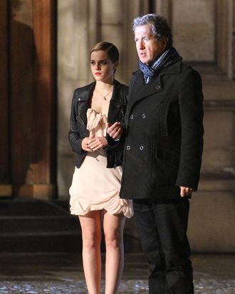 Emma Watson on the Lancôme set.