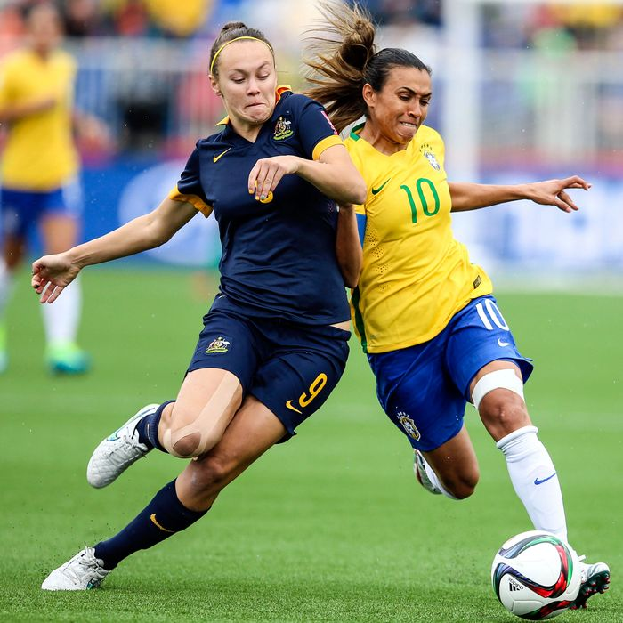 Caitlin Foord of Australia and Marta of Brazil.