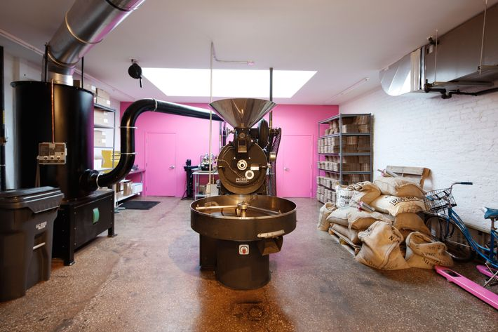 Inside, where the beans are roasted.
